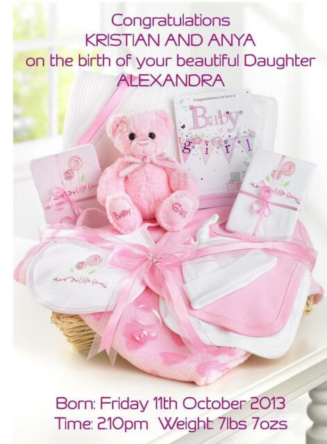 Birth of Baby Girl Congratulations A5 Card Personalised Friends