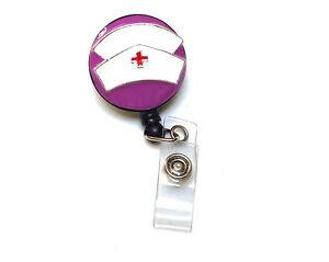 Retractable Id Badge Holder Reel Nurse Hat Purple Lvn