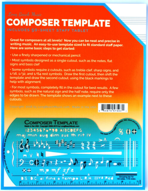 Song Writer\u0027s Composing Template for Music Notes  Symbols With - music staff paper template