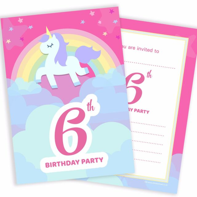 6th Birthday Unicorn Party Invitations - Ready to Write Postcard