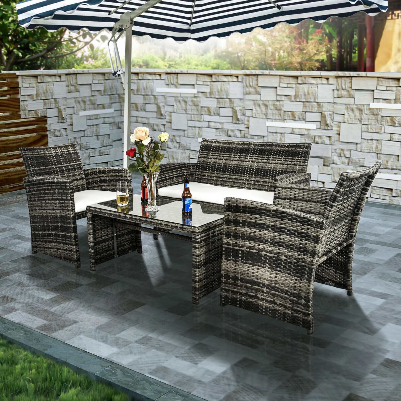 4 Piece White Wicker Patio Furniture Set Green Fabric Cushions Outdoor Seating For Sale Online Ebay