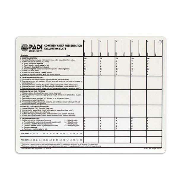 PADI Confined Water Presentation Evaluation Slate 60575 for sale