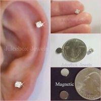 MAGNETIC 4mm Clear Glass Rhinestone Stud Fake Non-Pierced ...