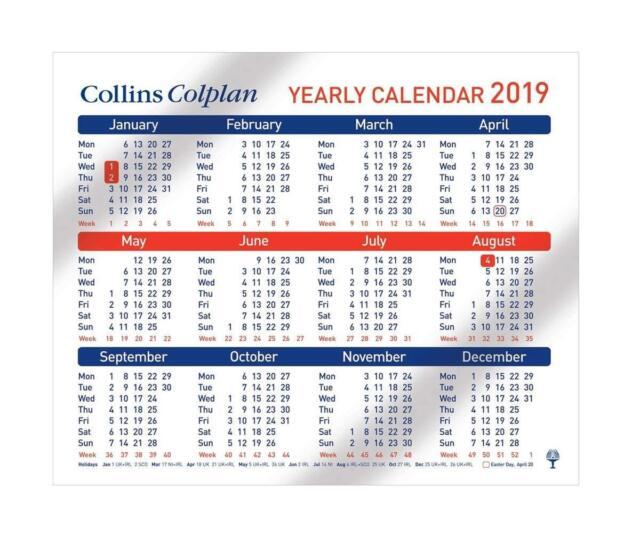 Collins 2019 Yearly Wall Calendar Desktop A4 Landscape 210x260mm