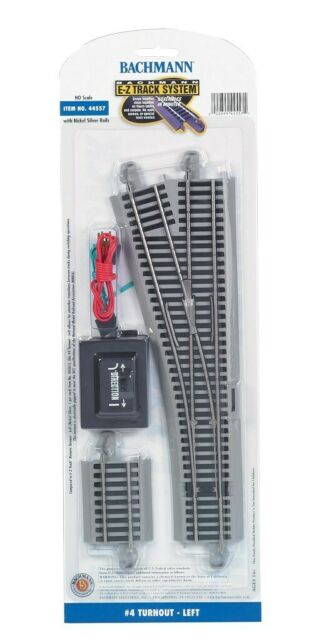 HO NS Gray EZ Track Remote #4 Left Turnout Bachmann Trains 44557 for