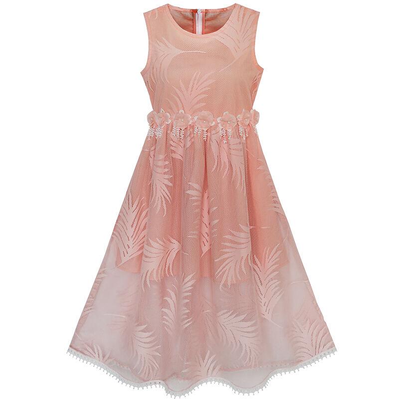 Flower Girl Dress Lace Leaf Print Elegant Princess Party Wedding