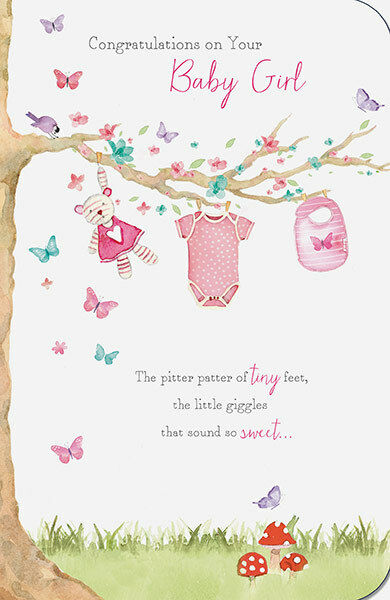 Congratulations Birth of Baby Girl Items Hanging From Tree Greeting