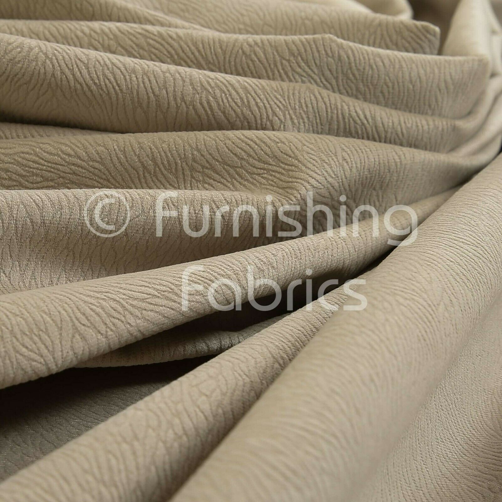 10 Metres Of Soft Textured Pattern New Beige Velvet Upholstery Curtains Fabric For Sale