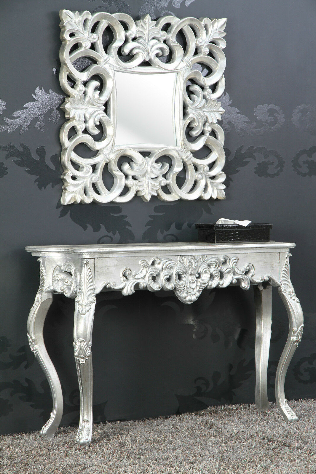 Console Wall Table Silver Antique Finish Luxurious Luxuriant Sideboard Baroque Rococo Ebay