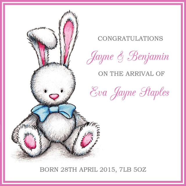 Personalised Handmade Cute Teddy Congratulations Baby Girl Card for