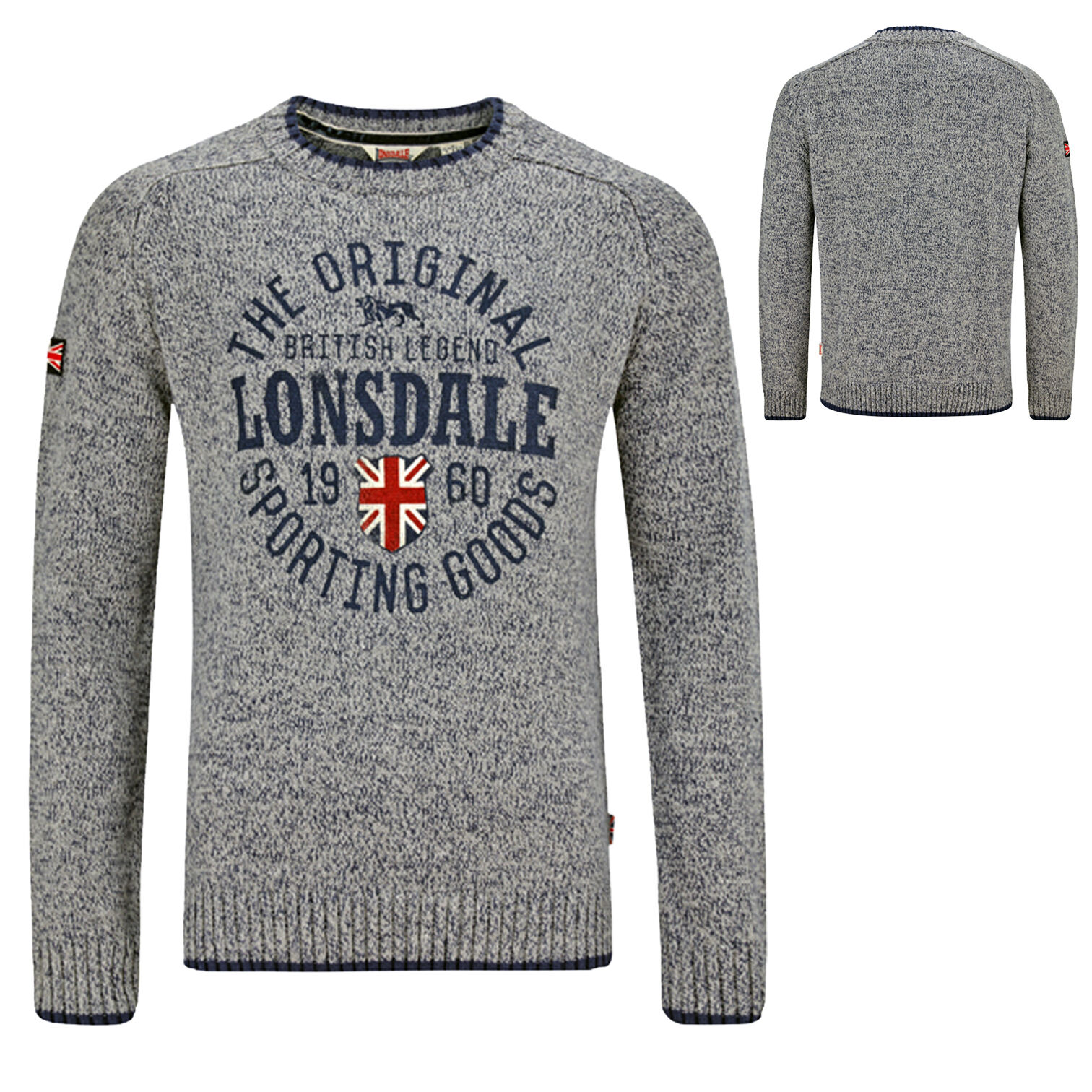 Pull Over Origin Lonsdale Borden Grey Blue Knitted Sweater Pullover Jumper Union Jack Sweatshirt Xxl