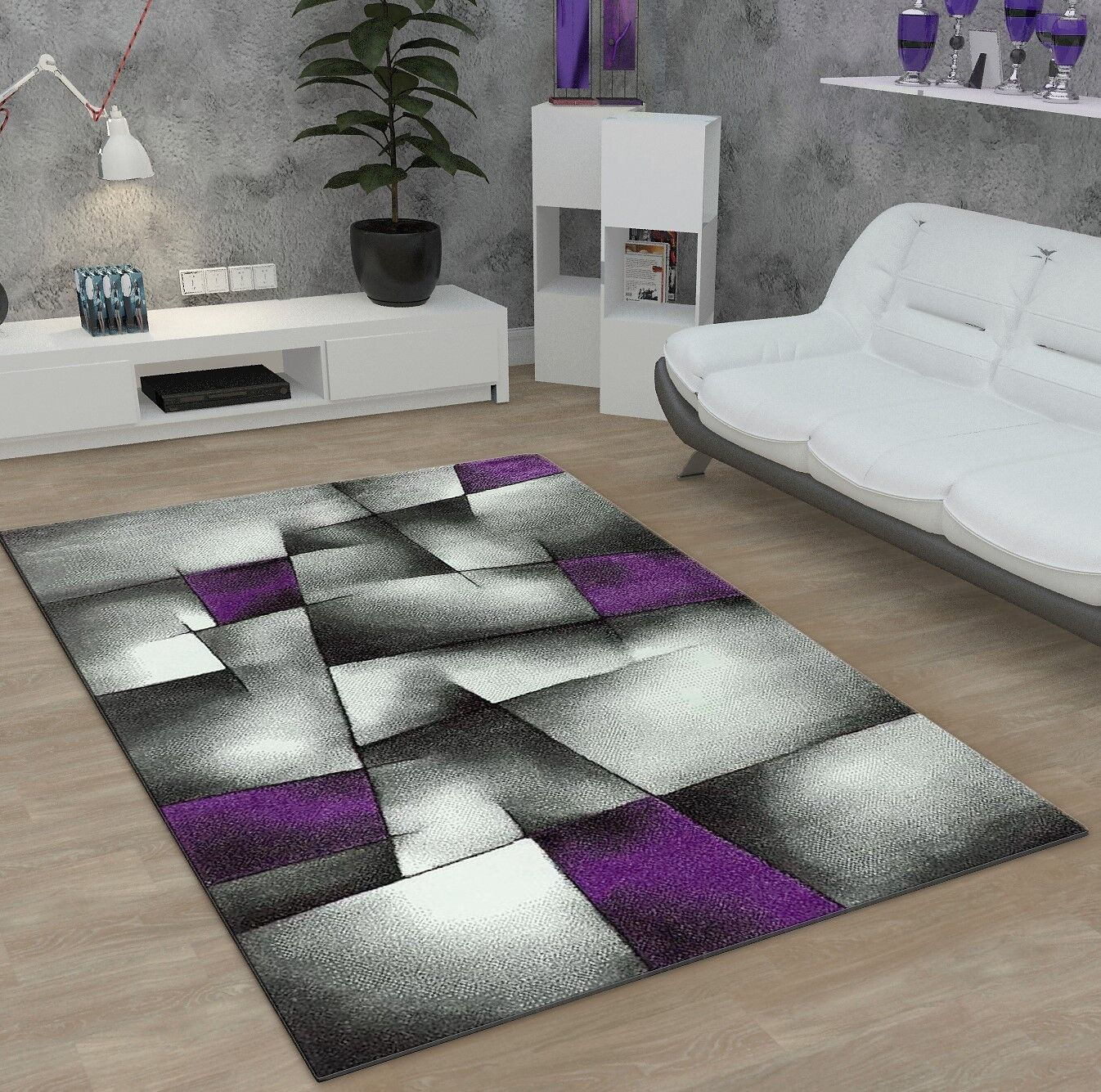 Gris Géométrique Tapis Violet Violet Tapis Moderne Abstract Carpet