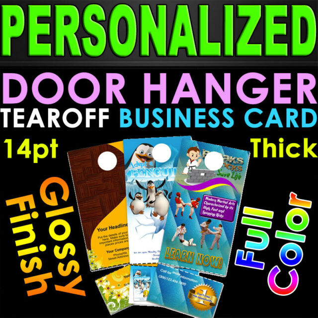 1000 Door Hangers Tear off Business Card Glossy Full Color 2 Sided