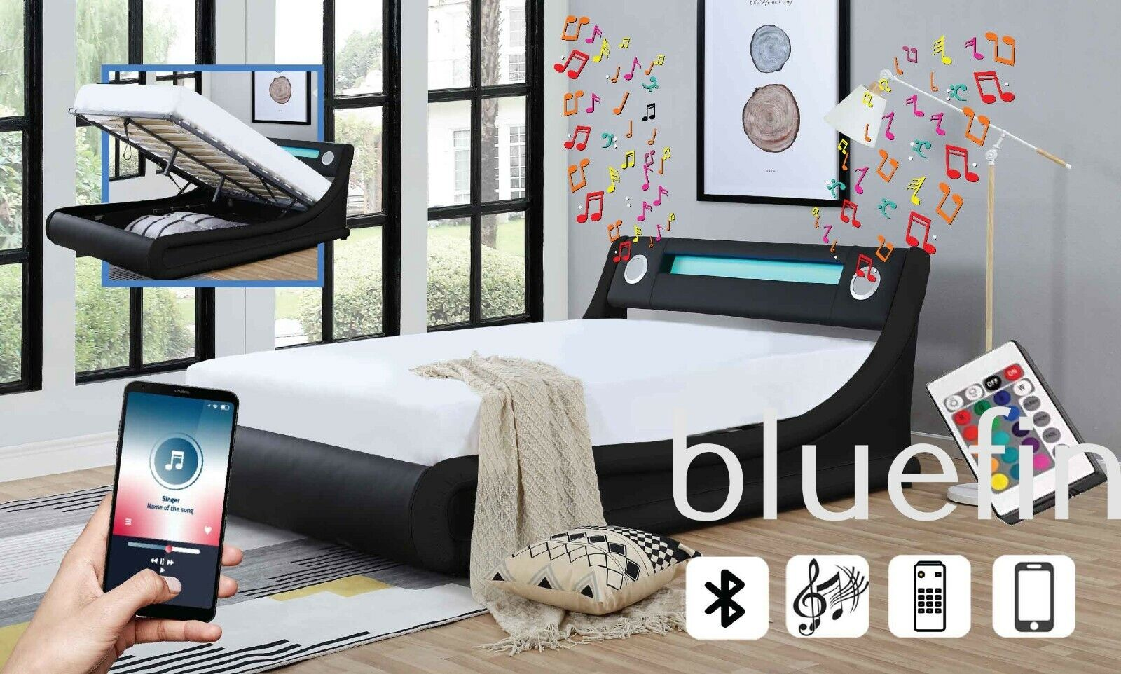Electric Bed King Size Modern Bluetooth Speaker Bed In Black White Or Black With Led Light Remote