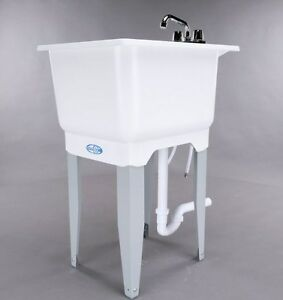 White Utility Laundry Sink With Faucet And Drain
