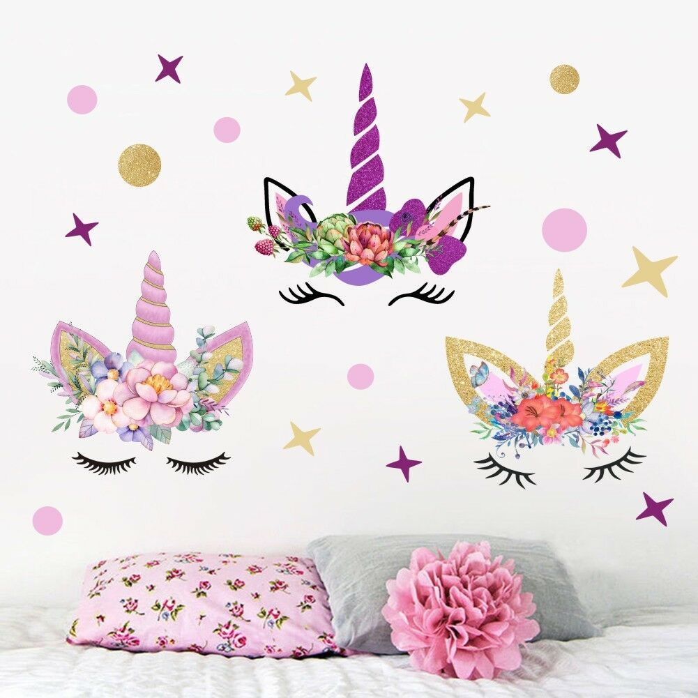 Stars Room Decor Usa 3pcs Fairy Unicorn Wall Stickers Stars Dots Girls Kids Room