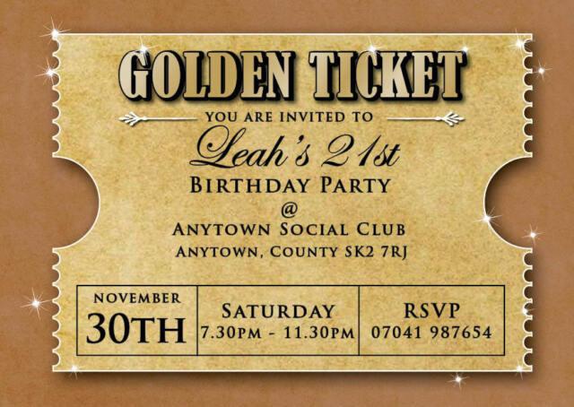 Birthday Invitations 18th 21st 30th Golden Ticket Inc Envelopes for