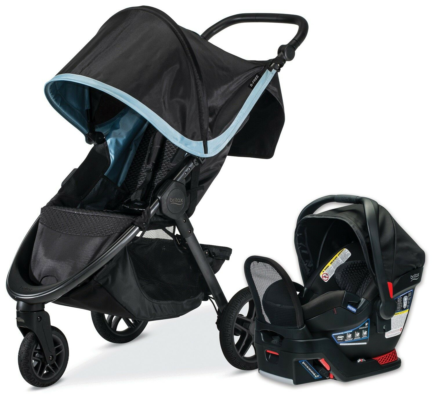 Britax Car Seat With Stroller Britax B Free Travel System Stroller With Endeavours Infant Car Seat Frost New