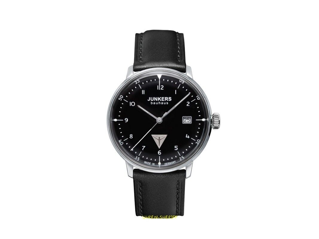 Bauhausstil Zürich Junkers Men S Bauhaus 40mm Black Leather Band Steel Case Quartz Watch 6046 2