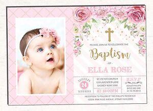 Princess Baptism Invitation Pink Gold Floral Christening
