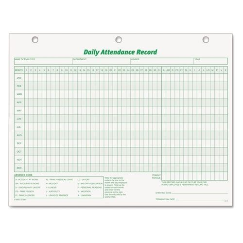 Top 3284 TOPS Daily Employee Attendance Record Form Top3284 eBay
