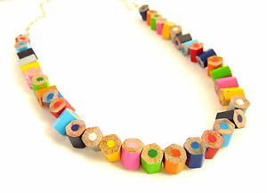 Handmade Pencil Crayon Necklace Fair Trade Recycled