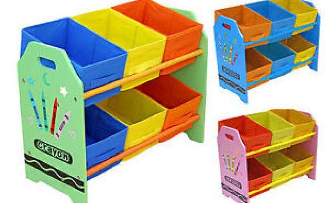 Kiddi Style Childrens Crayon Wooden Storage Unit 6 Bins
