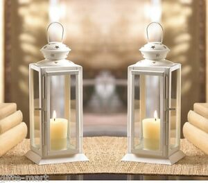 2 White Country Western 8quot Candle Holder Lantern Lamp