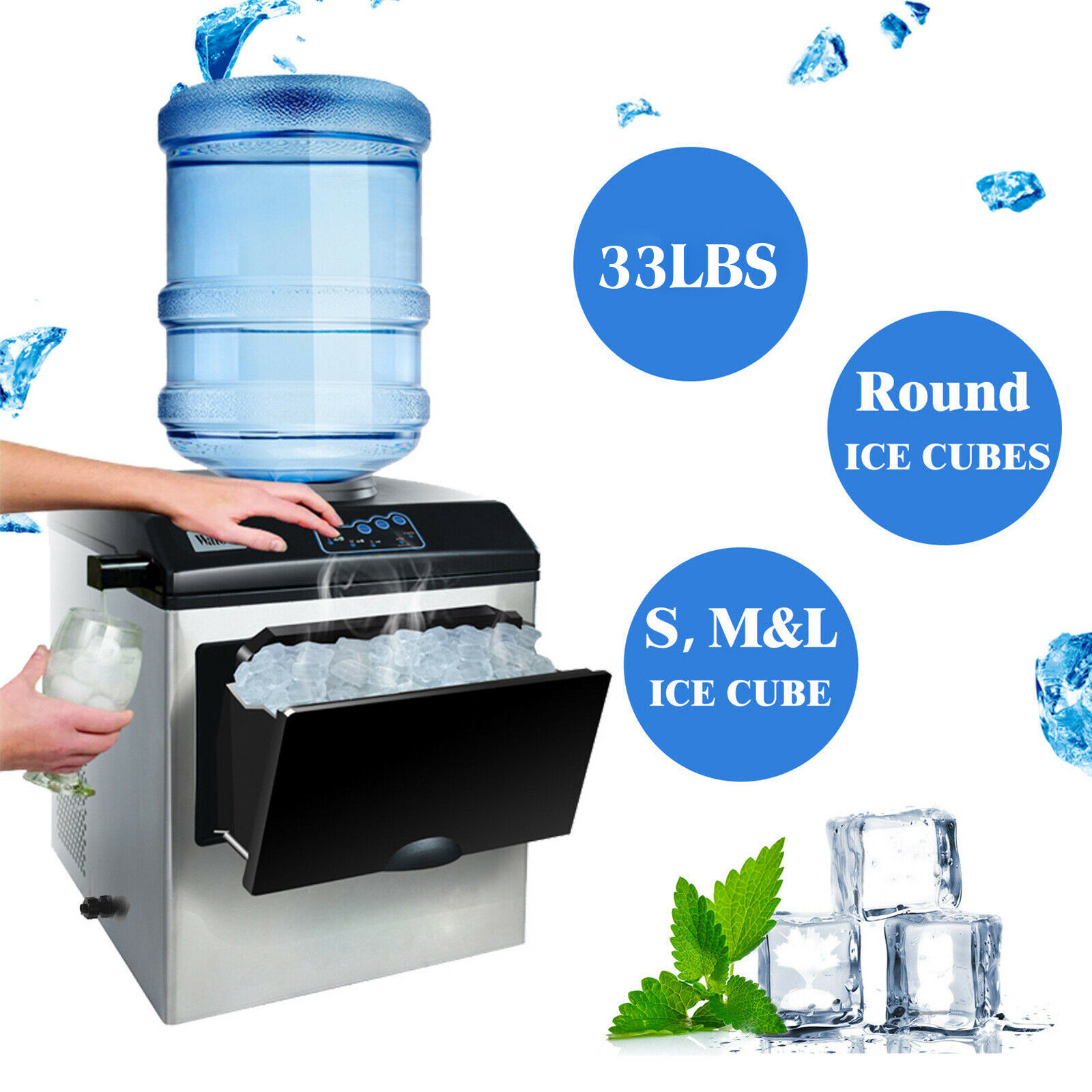 Electric 5 Gallon Cool Water Dispenser W Built In Ice Maker Machine Countertop For Sale Online