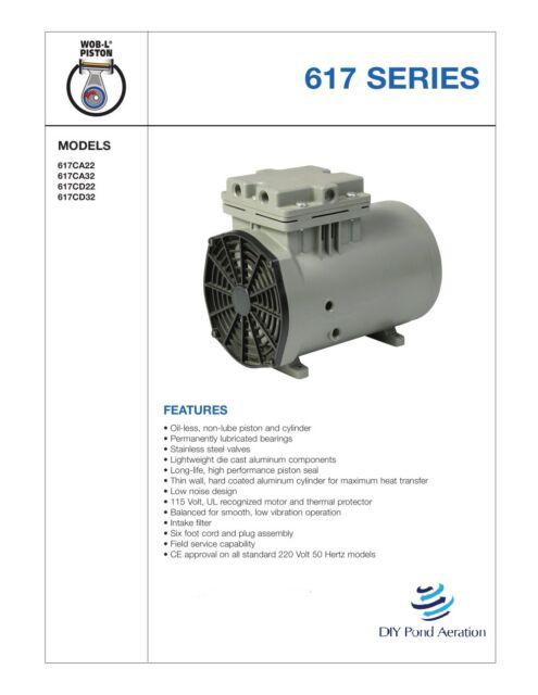 Thomas 617CA32 Piston Air Compressor 1/8hp 115v 1ph for sale online