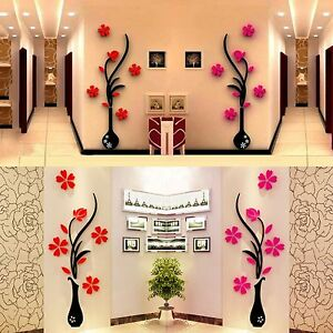3d Wallpaper For Home Wall India 3d Vase Removable Flower Tree Crystal Acrylic Wall Sticker