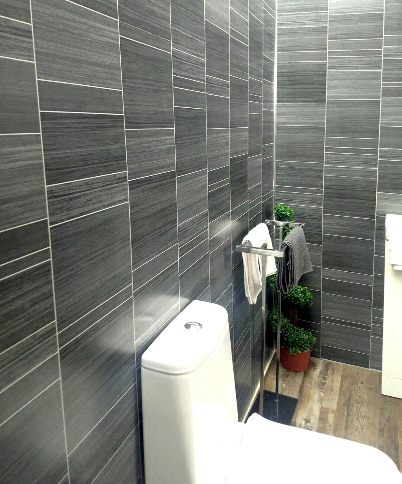 Executive Grey Tile Effect Bathroom Cladding Panels Wet Wall Shower Pvc Cladding Ebay