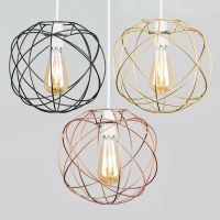 Geometric Sphere LED Ceiling Pendant Light Shades Black ...