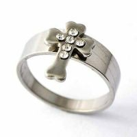 Promise Titanium Cross Crystal Womens Mens Band Rings Size ...