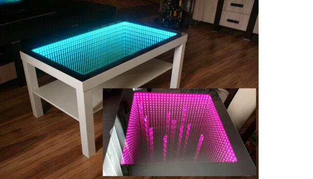Couchtisch Chrome Oak Table Led 3d Coffeetable Illuminated Infinity Mirror