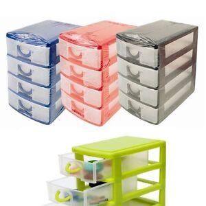 Plastic 4 Drawer Storage Unit Office Bedroom Kitchen