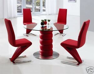 Lugano Glass Leather Chrome Dining Room Table Only 3