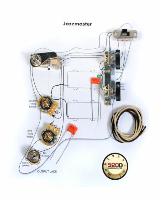 Fender Vintage Jazzmaster Wiring Kit - Pots Switch Slider Caps
