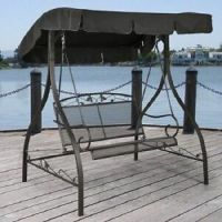 Outdoor Furniture Wrought Iron Patio Swing Canopy Porch ...