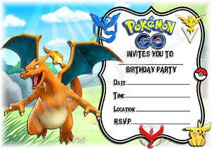 A5 Kids Childrens Party Invitations X 12 Pokemon Go