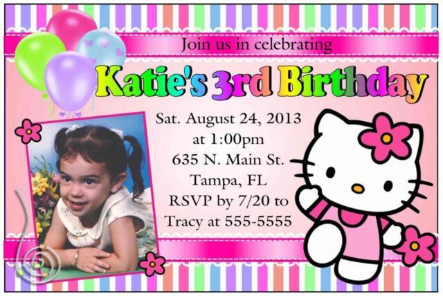 Hello Kitty Birthday Invitations Design W/photo for sale online eBay