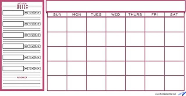College Wall Calendars Dorm Planner Class and Red Monthly Schedule - Calendar Class