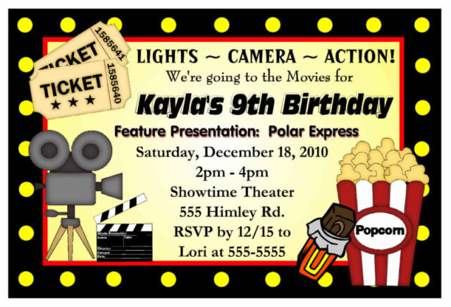 Movie Night Birthday Party Invitations - Hollywood for sale online