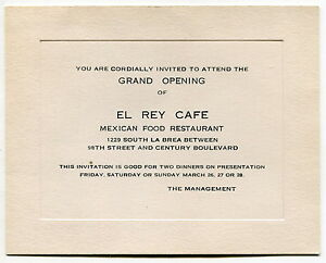 Old Invitation Card Quotel Rey Cafequot Mexican Restaurant