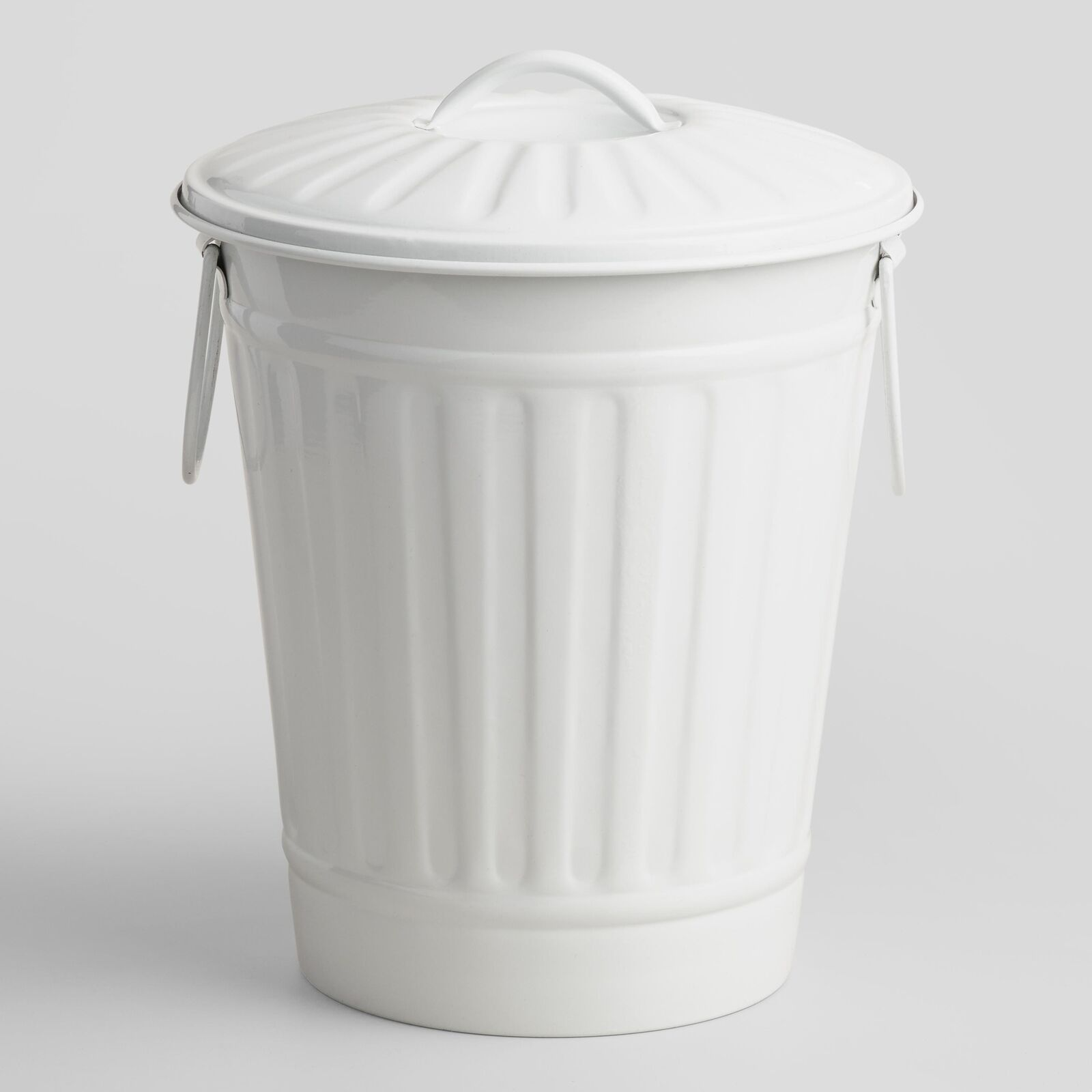 Small White Trash Can With Lid Small Retro White Galvanized Metal Trash Can Pail Bin Swing Handles Secure Lid