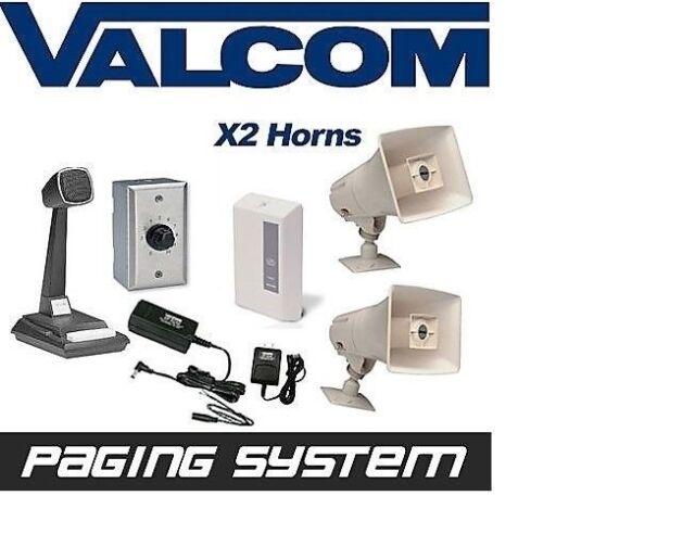 Valcom 2 Horn Speaker Paging PA System Kit Industrial Grade PBX