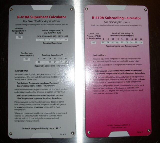 R410a Superheat Subcooling Calculator Charging Chart for TXV Tev eBay