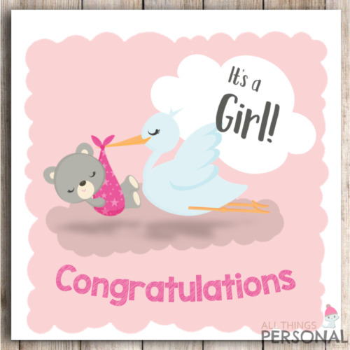 New Baby Girl Card Congratulations Parents It\u0027s a Girl Card New