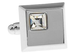 Square Clear Crystal Pair Cufflinks Wedding Fancy Gift Box