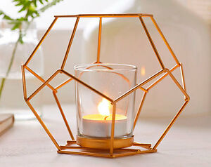Candle Copper Holder Light Tea Lantern Holders Geometric